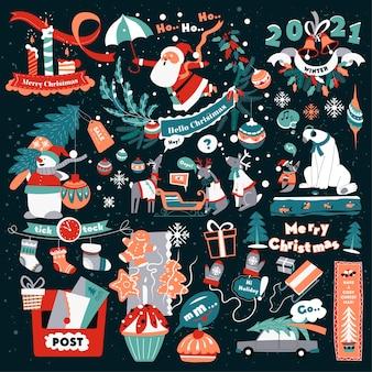 冬の休日のお祝いと挨拶、クリスマスのシンボルとサイン。トナカイとサンタクロース、子供の手紙、装飾的な松の枝と花輪、新年の装飾品、フラットのベクトルの投稿