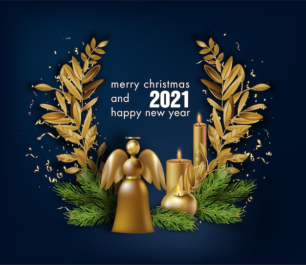 Празднование зимних праздников, счастливого рождества и нового года 2021
