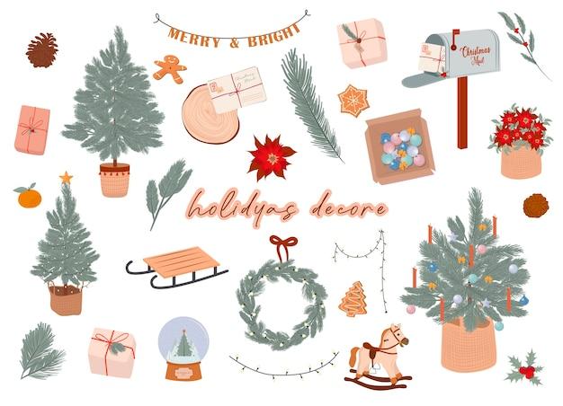 Элементы декора зимних праздников в скандинавском стиле уютные элементы хюгге редактируемые иллюстрации