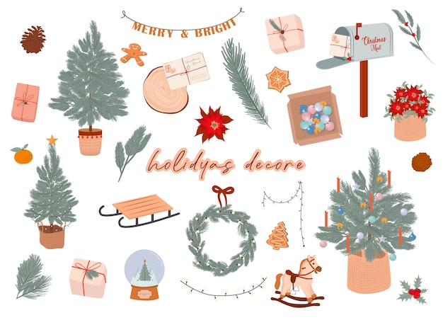 Winter holidays decor elements in scandinavian style cozy hygge elements editable  illustration