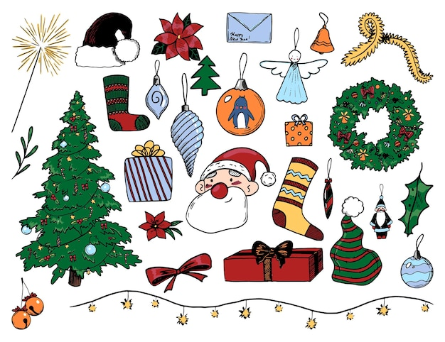 Коллекция рисунков зимних праздников. рука нарисованные векторные иллюстрации. мультяшные рисунки уютного рождества, нового года. цветные винтажные элементы, изолированные на белом для дизайна, открыток, печати, декора, наклеек.