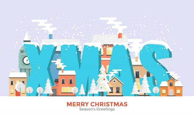 Winter holidays flat  banner