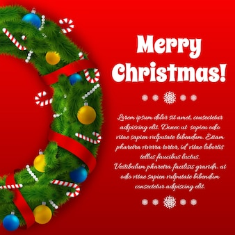 Winter holidays greeting template with green wreath text and festive decorations on red