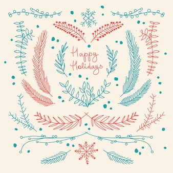 Winter holidays hand drawn floral template with natural tree branches in red and blue colors illustration