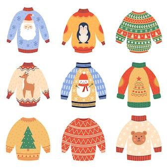 Winter holidays jumpers cute xmas woollen sweaters cozy christmas winter garments vector set