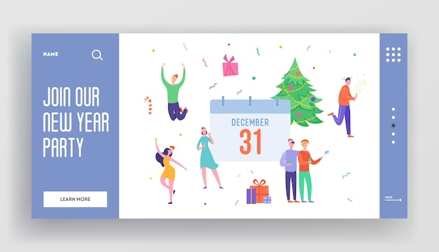 Winter holidays landing page template. merry christmas and happy new year website layout with people characters celebrating 2020. customized mobile web site friends party.