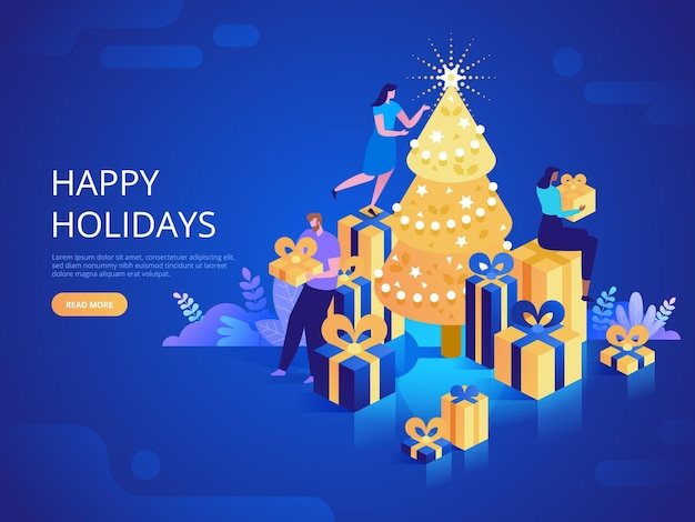 Winter holidays landing page vector template. christmas season event celebration website homepage interface idea with isometric illustrations. friends decorating fir tree web banner 3d cartoon concept