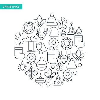 Winter holidays lined icons collection with christmas elements