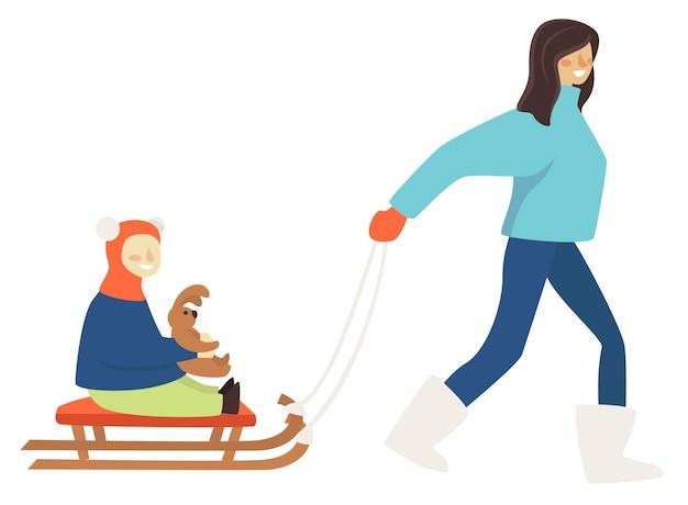 冬休みや週末の休息と余暇。そりに座っている子供と孤立した女性キャラクター。ぬいぐるみのバニーのおもちゃを手に持っているママと息子または娘。そりに乗って、フラットでベクトルを楽しんでいます