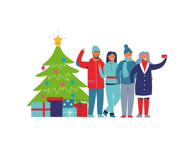 冬の休日クリスマスツリーを持つ人々。スマートフォンで自分撮りをしている幸せなキャラクター。新年を祝う漫画の男と女。