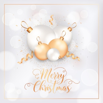 Winter holidays postcard, merry christmas elegant greeting card with xmas balls and confetti. festive decoration in white and gold colors with gold glitter on blurred background. vector illustration