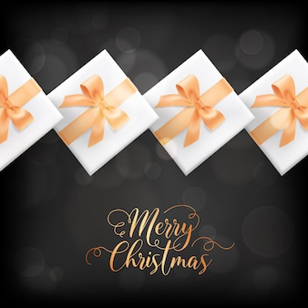 Winter holidays postcard, merry christmas elegant greeting card with xmas gifts. festive season wrapped presents, gold decoration on black blurred background with golden lettering. vector illustration