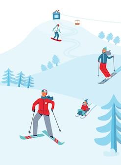 冬休みレクリエーションスポーツ活動。キャラクタースキーとスノーボードのあるスキーリゾートの風景。雪に覆われた下り坂に乗って幸せな人々。
