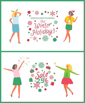 Winter holidays sale, christmas party of people