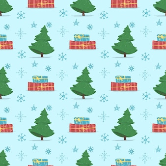 Winter holidays seamless pattern with fir tree,
