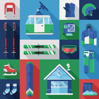 Winter holidays set. mountain ski and snowboard equipment vector collection.