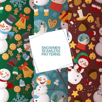 Winter holidays snowman set of seamless patterns vector illustration. cheerful snowmen in different costumes and outfits.