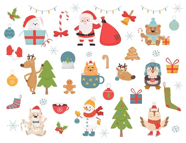 冬の休日のシンボルと動物のイラストセット