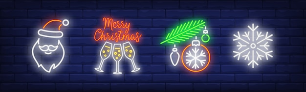 Winter holidays symbols set in neon style