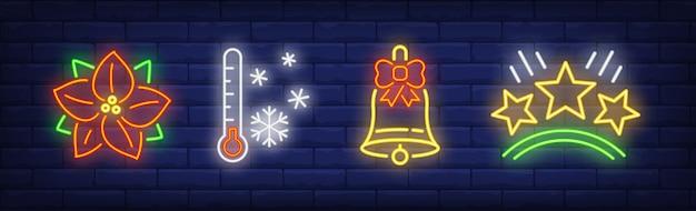 Simboli di vacanze invernali impostati in stile neon