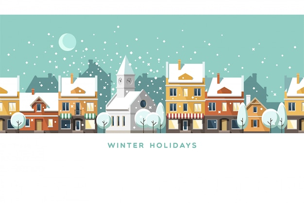 Winter holidays town illustration landscape