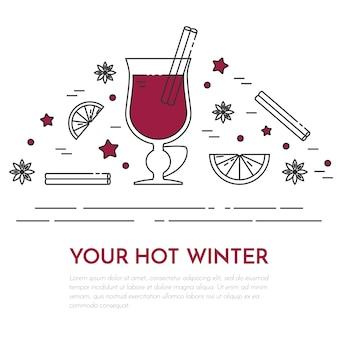Winter horizontal mulled wine banner in line art.