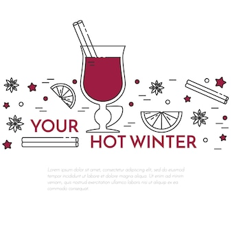 Winter horizontal mulled wine banner in line art.