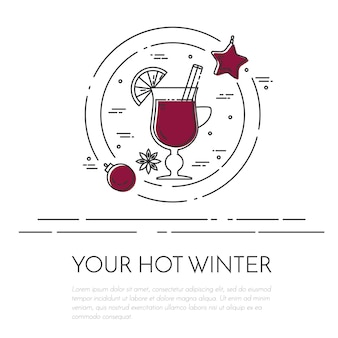 Winter horizontal mulled wine banner.
