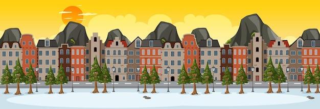 郊外の建物の背景と日没時の冬の水平方向のシーン