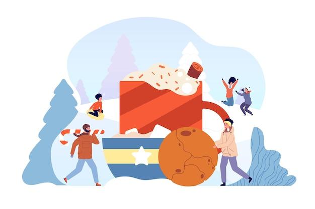 冬の温かい飲み物。友達はチョコレートドリンク、クリスマスフードキャンディークッキーを作ります。家族の休日、雪通りのベクトル図のココアカップ。温かいマグカップココア、コーヒー冬の飲み物