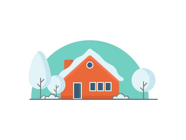 Иллюстрация зимний дом в плоском стиле