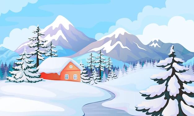 Зимний дом пейзаж. сельская сцена со снежными горами, елями и деревянным домом