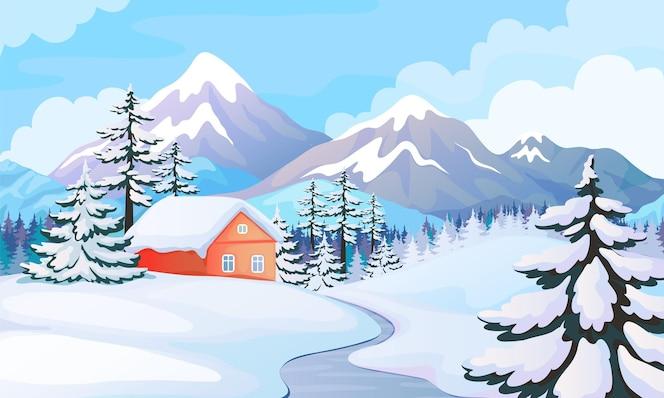 冬季房子景观。与多雪的山,云杉的树和木房子的农村场面