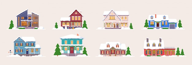 Winter house. snow-covered decorated building set. home exterior design isolated.