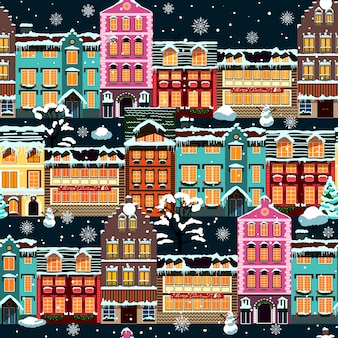 Winter houses seamless night