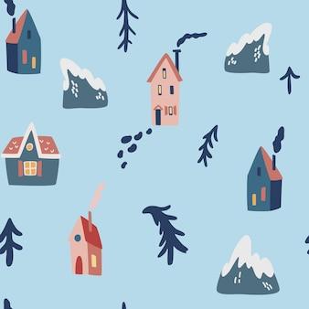 冬はシームレスなパターンを収容します。クリスマスツリーの山や家。スカンジナビアスタイルの冬の風景。壁紙、衣類、パッケージの招待状、ポスターの休日の装飾の背景。