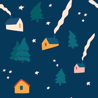 冬はシームレスなパターンを収容します。スカンジナビアスタイルの冬の風景。生地、衣類、休日、包装紙、パジャマのクリスマスの背景。ベクトルイラスト。
