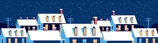 Winter houses with snow on roofs night snowy village street merry christmas  greeting card flat horizontal banner