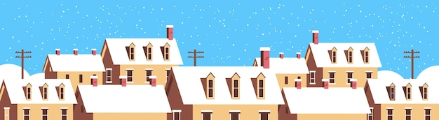 Winter houses with snow on roofs snowy village street merry christmas  greeting card flat horizontal closeup