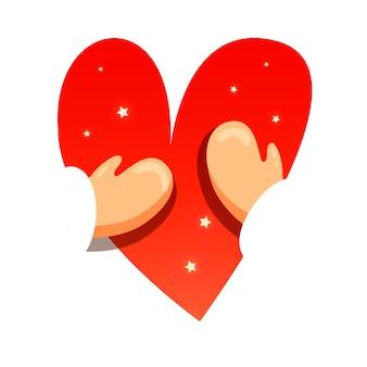 Winter hugging heart special holiday illustration