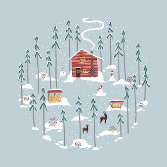 Winter hut, house in the forest. deer, reindeer herders, snowmen, firewood, snowfall, pines.   illustration in simple hand-drawn style.