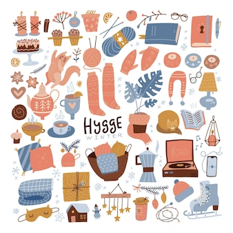 Winter hygge clipart set cozy winter flat hand drawn illustration for srickers logo cards posters wr...