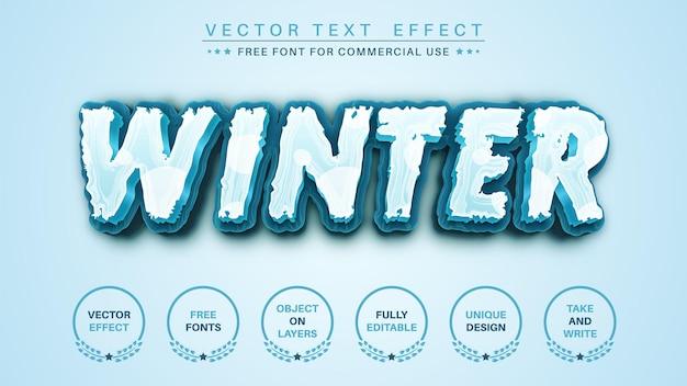 冬の氷の編集テキスト効果編集可能なフォントスタイル