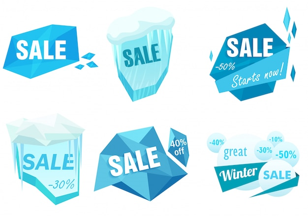 Winter ice sale tags set