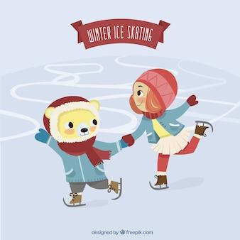 Winter ice skating