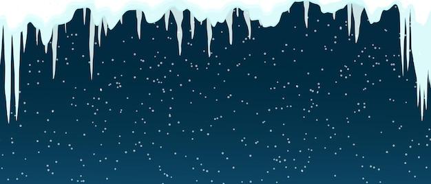 冬のつらら。氷冠。雪飾りアイテム。クリスマスカード、ウェブサイト、冬のセールのデザイン。雪片。フラットベクトルイラスト。