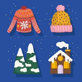 Winter icons set sweater hat mountains snow and house cartoon