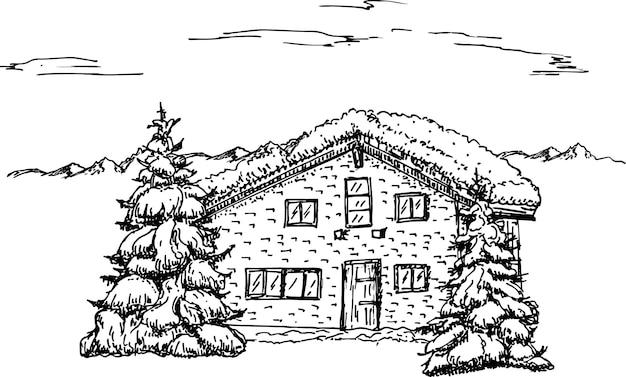 Зимний идиллический пейзаж, сосны и дом в снегу.
