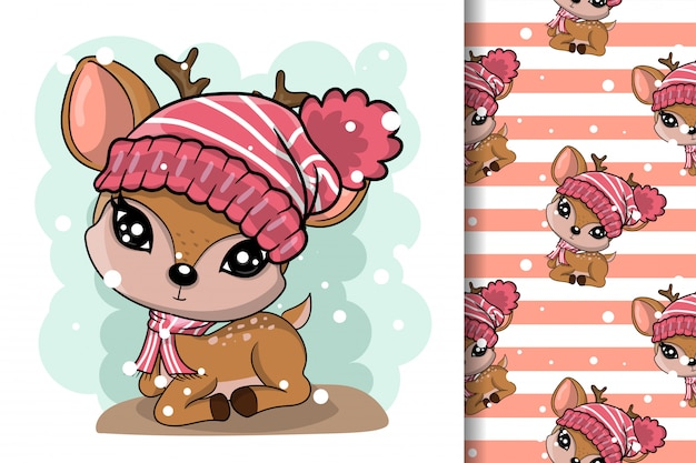 Winter illustration of cute deer in hats with pattern set