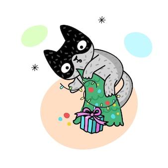 크리스마스 트리에 고양이와 겨울 그림입니다. 귀여운 새끼 고양이. 엽서, 포스터, 옷 또는 액세서리 인쇄용 벡터 그림. 새해와 크리스마스.